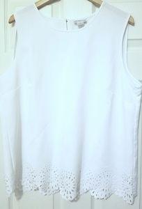 Liz Claiborne Pure White Shell,  Size XL, EUC